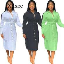 Женское Повседневное платье большого размера на пуговицах с
