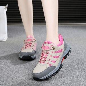 Image 1 - Zapatos de seguridad de punta de acero para mujer, botas de trabajo de seguridad, calzado de construcción, color rosa