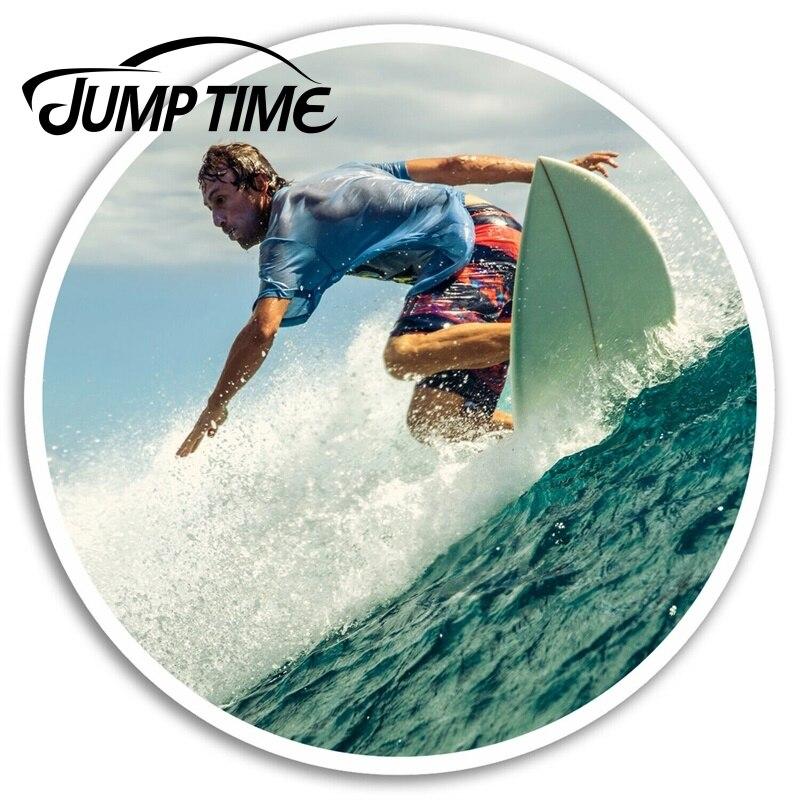 Jump time surfista adesivos de vinil onda surf adesivo bagagem portátil carro assessaoires janela decalques envoltório do carro diy