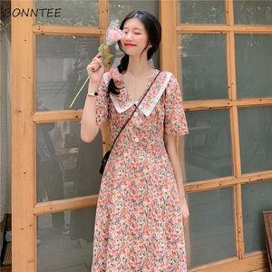 Sukienka kobiety kwiatowy nadruk koronka projekt słodkie dziewczyny Ulzzang elegancki wypoczynek wakacje francuski najnowszy moda z krótkim rękawem Boho lato