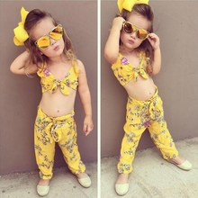 New 2pcs/set Children Set Summer Fashion Flower Pattern Sweet Bow-knoted Decor Long Pants Girls 0-5T Baby Girl Clothes