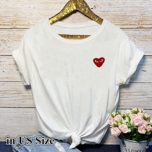 Маленькая красная футболка с принтом сердца Женская свободная футболка с коротким рукавом и круглым вырезом 2020 Летняя женская футболка топы Camisetas Mujer Футболки      АлиЭкспресс