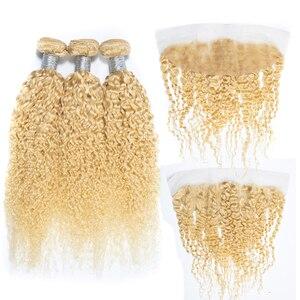 Image 1 - ブロンド 613 フロントブラジルレミー人毛織りでバンドル拡張バンドルセール透明レースフロント