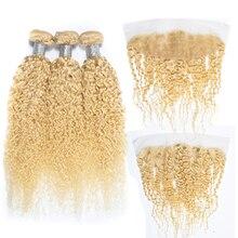 Loira 613 pacotes de onda encaracolado com frontal brasileiro remy tecer cabelo humano kinky curly pacotes com laço transparente frontal