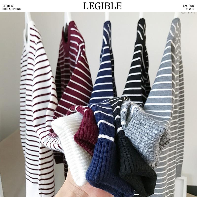LEGIBLE Korean Sweater Men Harajuku O-Neck Tops Autumn Loose Striped Clothing Sweaters Japan For Men