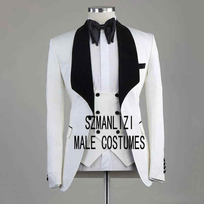 2020 White Italian Design Mens Wedding Suits 3 Pieces Black Velvet Lapel Groom Suits For Men Groom Tuxedos Groomsmen Suit