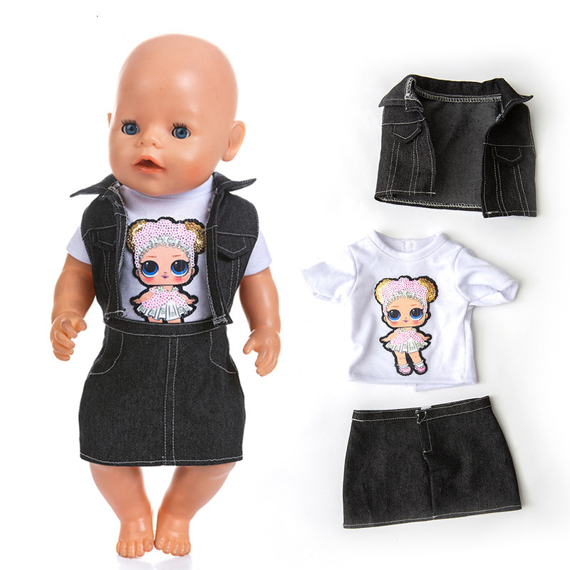 Fit 18 Inch Doll Clothes Born New Baby Doll Denim Suit Hiva 3-piece Suit Clothes  For Baby Birthday Gift