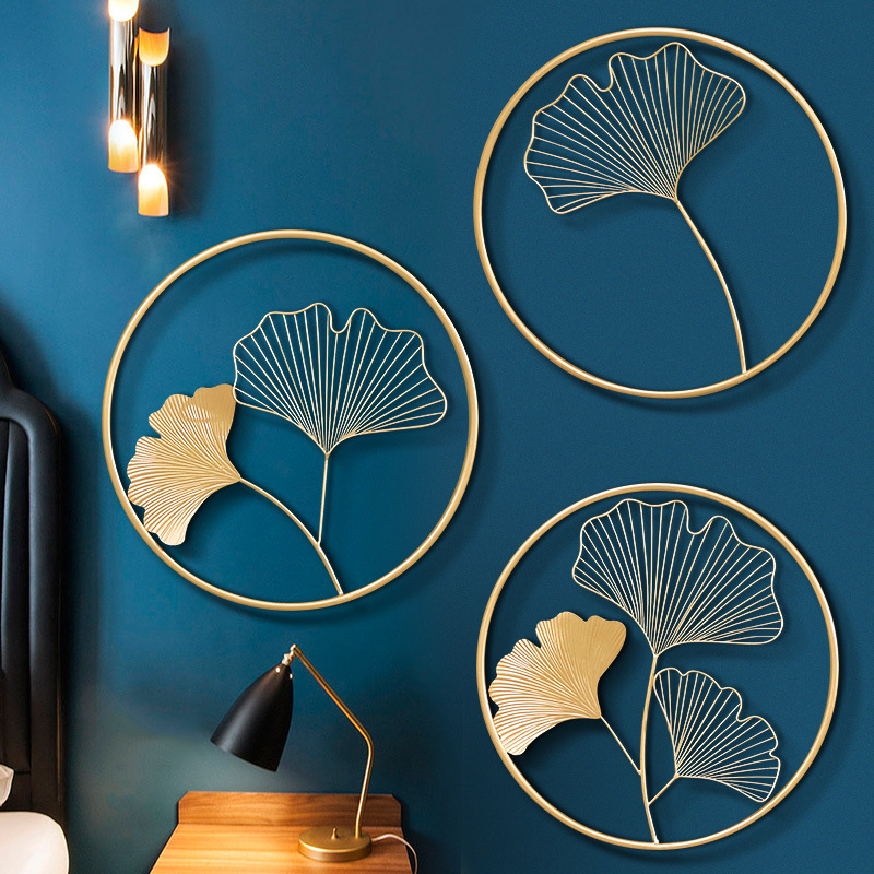Nordic Luxury Ginkgo Leaf Wall Decors Creative Home Living Room Iron Art Gold Three-dimensional Leaf Wall Hanging Painting 3pcs