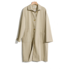 Shuchan Cotton Linen Blend Trench Coat Women England Style Turn-down Collar Pockets Single Breasted Wide-waisted