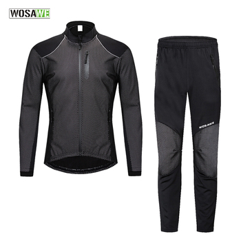 WOSAWE Winter Warm Cycling Clothing Men Long Sleeve Bicycle Jersey Set Sport MTB Wear Windproof Road Bike Clothes Riding Suit