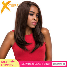 X TRESS Synthetic Lace Front Wigs For Black Women Ombre Brown Color Long Soft Straight Wig Free Part Glueless Heat Resistant Wig