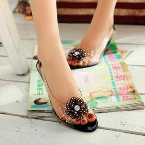 Image 5 - YEELOCA 6.5CM Wedges Sandals Women Summer Sweet Flowers Transparent Open Toe Heels Sandals Fishmouth Red Sandals Plus Size 33 43
