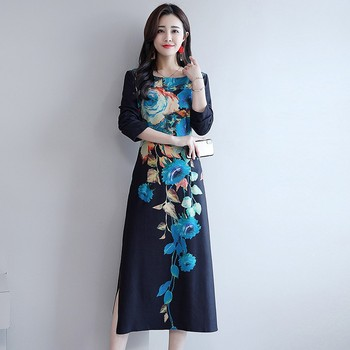 цена на Women Fashion Flower Print Dress Retro Round Neck Floral Dress Long Sleeve Slim Split Dress