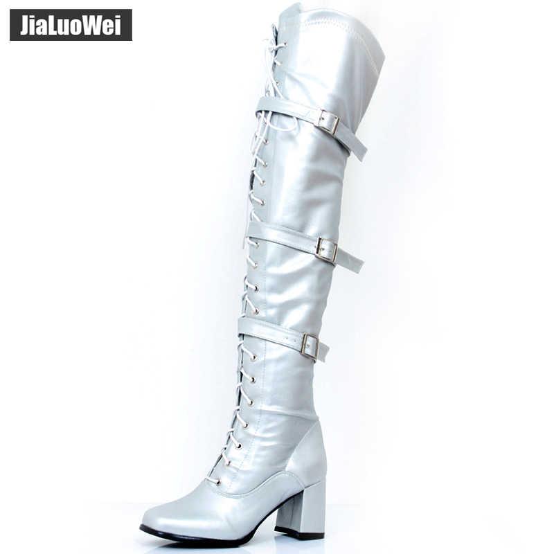 Frauen Stiefel Retro Block High Heel Damen Über-Die-Knie Platz Toe Lace-up Zip schnalle frau Dance Party Schuhe