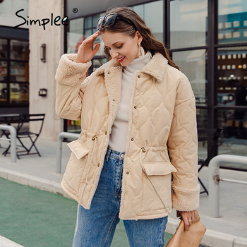 Simplee Causal solid white autumn winter women parkas Warm stand collar long sleeve female jacket High street Down Jackets 2020 8