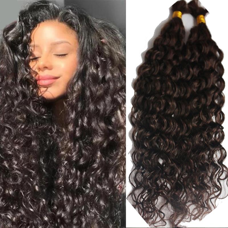 Объемные свободные глубокие кудрявые человеческие волосы для плетения, без уточка, Реми, бразильские плетеные волосы Bulks, 1/3 пряди, плетеные ...
