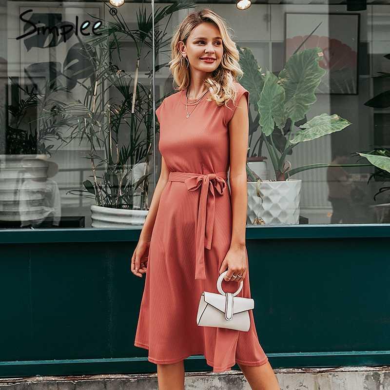 Simplee ТРАПЕЦИЕВИДНОЕ женское трикотажное платье-свитер Элегантное зимнее платье с коротким рукавом и поясом однотонное осеннее женское платье миди с круглым вырезом