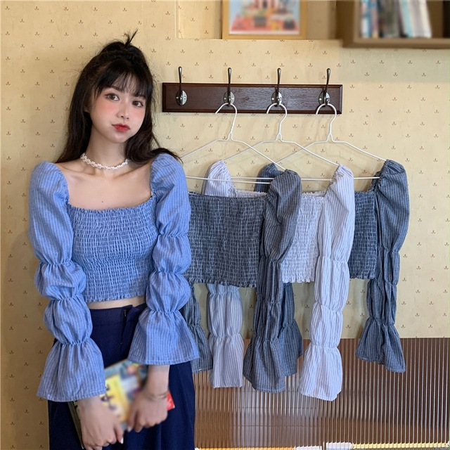 Women Blouses Striped Square Collar Shirts Pleated Slimming Lantern Long Sleeve Camiseta Top One Size Vetements Femmes 6