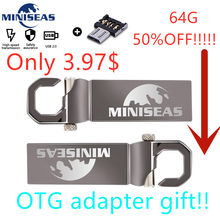 Miniseas usb flash drive 64GB matel pen drive waterproof silver pendrive u disk memoria cel usb stick with adapter free(China)