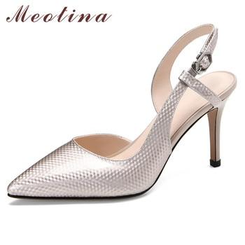 Meotina Women Pumps Genuine Leather Super High Heel Shoes Pointed Toe Thin Heels Slingbacks Footwear Summer Shoes Ladies Black