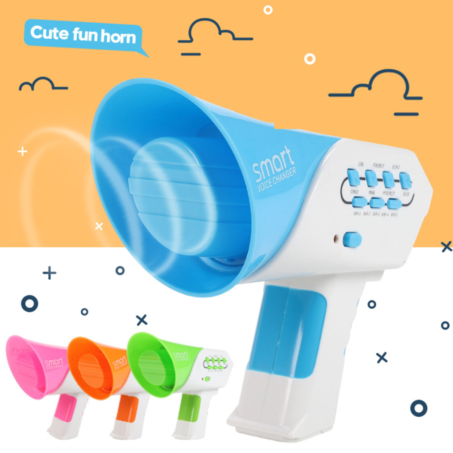Kids Funny Electronic Mini Multi Voice Changer Horn Voice-changing Loudspeaker Intercom Toys with 7 Different Voice Modifiers image