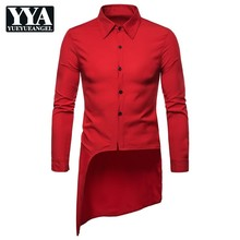 2021 New Irregular Tuxedo Shirts Men Long Sleeve Single Breasted Solid Party Shirt Fashion Luxury Brand High Quality Clothes Man