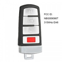 KEYECU Smart Remote Key 4 Taste 315MHz ID48 für VW Passat CC 2006-2012 FCC: NBG009066T