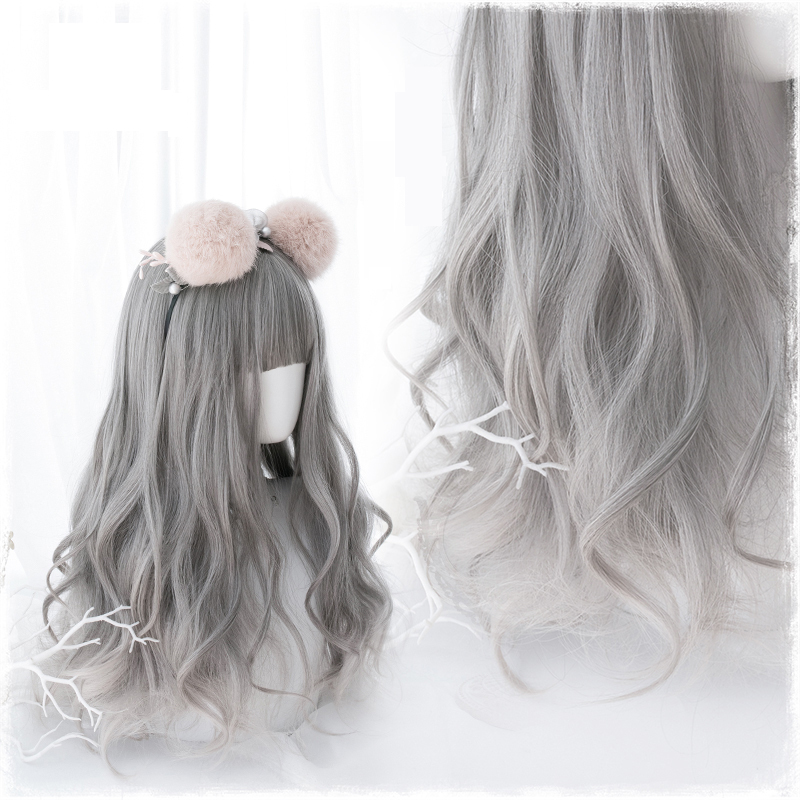 Original Lolita Cosplay Wigs High-temperature Fiber Synthetic Hair 24inches Gray Long Loose Wave Curly Hair + Free Hair Cap