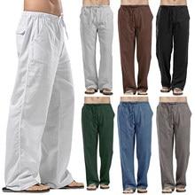 Masculino plus size S-5XL calças retas algodão linho cordão cintura sólida calças oversize completa calça casual 2020 verão
