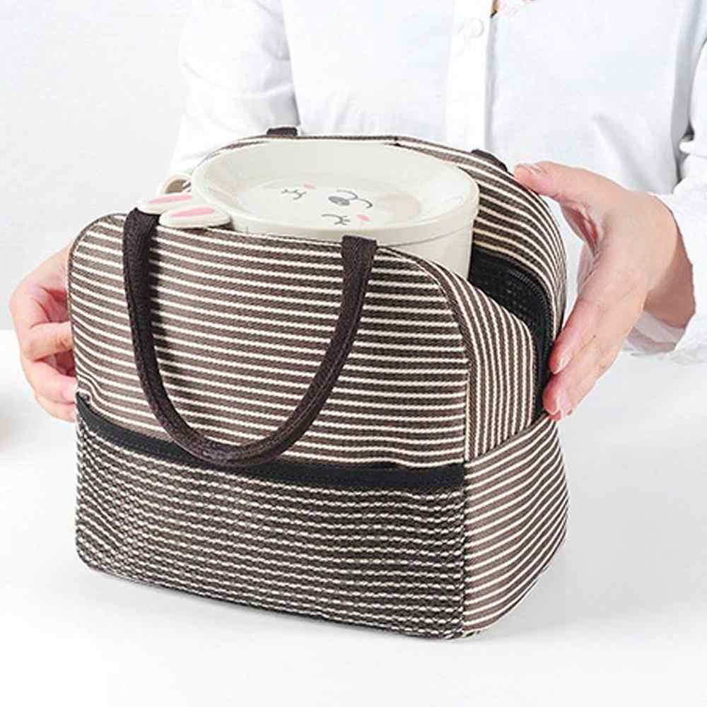 Di Động Sọc Túi Đựng Đồ Ăn Trưa Cách Nhiệt Nhiệt Vải Hộp Đựng Thực Phẩm Túi Tote Túi Xách Trưa Túi Dã Ngoại Túi Trường Thực Phẩm Lunchbox
