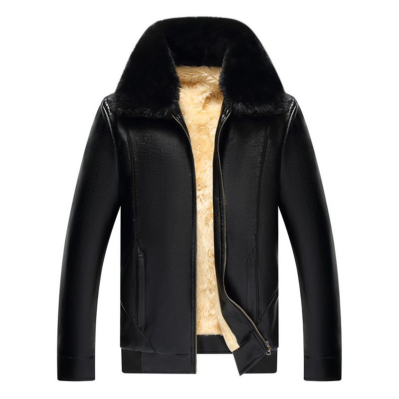 Trade Fair Middle-aged MEN'S Leather Coat Pu Brushed And Thick Coat Leather Jacket