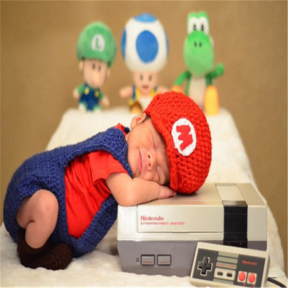 Baby Kid Clothes Super Mario Hats For Newborns Cartoon Mario Cosplay Costume Photo Shoot Outfit Infant Photography Props Hat Set