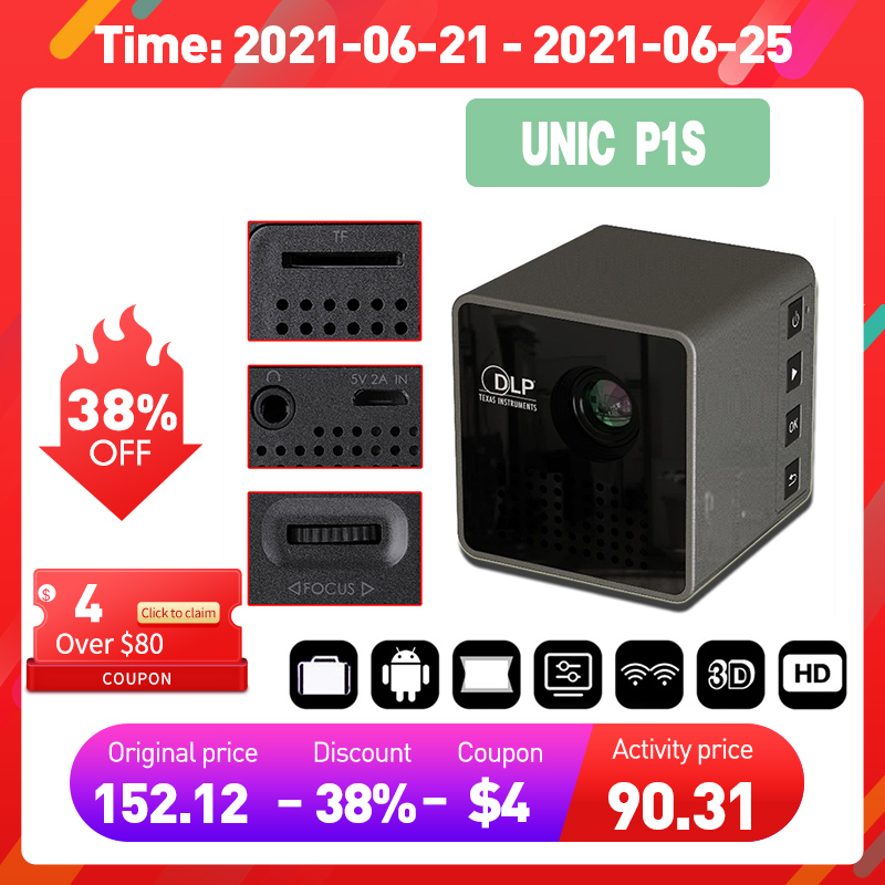 UNIC P1S WIFI Wireless Pocket DLP Mini Portable Projector 40 Ansi lumens Micro Miracast DLNA Video Projector UNIC P1 + H Wifi