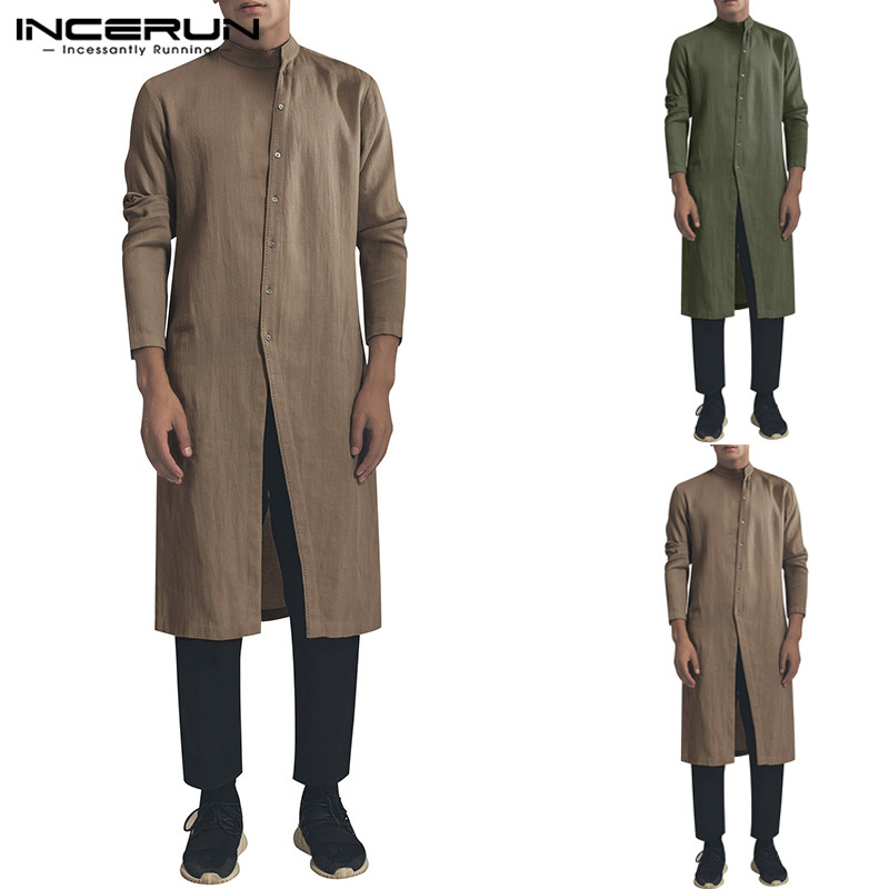 INCERUN Men Shirt Cotton Stand Collar Button Long Sleeve Vintage Irregular Long Shirts Men Muslim Indian Clothing Tops 2020 5XL