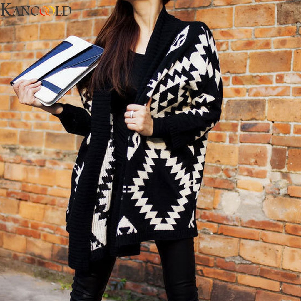 KANCOOLD Women long kimono Knitted Cardigans Coat Black And White Pattern Long Sleeve Pullover Coat Jumper High Quality New