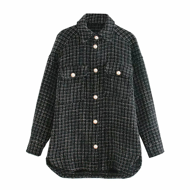 Tweed Women Vintage Oversize Shirt 6