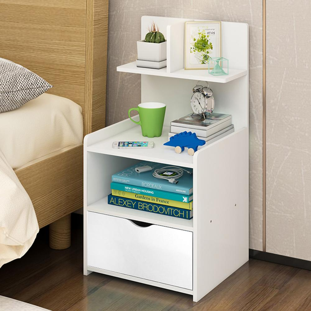 White 1 Drawer  3 Layer  Wooden Bedroom Bedside Table Cabinet Nightstand Storage Cabinet & Shelf AU/UK/US/RU/CN Dropshipping