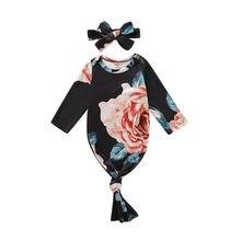 Одежда для сна для новорожденных девочек и мальчиков, спальные мешки, повязка на голову с длинными рукавами и цветочным рисунком, одежда для сна для детей от 0 до 24 месяцев