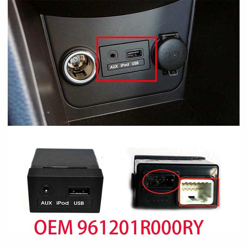 Untuk Asli 961201R000RY JACK ASSY AUX & USB untuk Hyundai 2011 2012 2013 Bisa Solaris USB Reader IPod AUX Port adaptor Assy