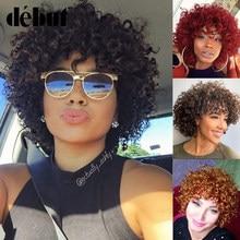 Estreante barato vermelho perucas de cabelo humano para preto feminino marrom ombre brasileiro curto bob encaracolado perucas 99j remy cabelo humano máquina feita perucas