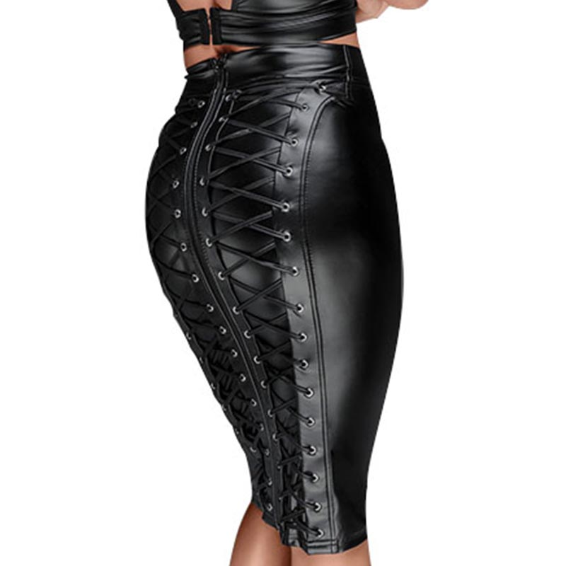 Gothic Wet Look Black Faux Leather Skirt Sexy Punk Back Zipper Lace Up Wrap Pencil Skirt 2018 Summer Bodycon Midi Skirts Womens