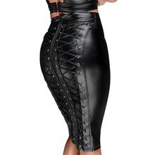 Gothic mokry wygląd czarna sztuczna skóra spódnica Sexy Punk z powrotem na zamek błyskawiczny Lace Up Wrap spódnica ołówkowa 2018 lato Bodycon Midi spódnice kobiet tanie tanio Poliester Elastan skirts womens Naturalne Kobiety Stałe Ołówek Kolan Lace-up Black Midi Skirt Leather Skirt 1 pcs * skirts womens