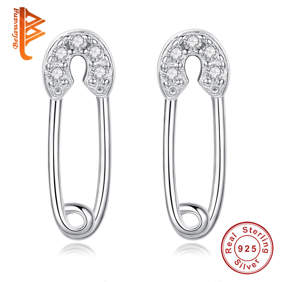 So Chic Jewels Childrens 925 Sterling Silver Safety Pin Ear Studs with Crystal