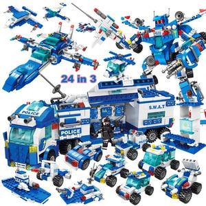 City Police Station Car Headquarters Building Blocks legoINGlys Technic Truck SWAT WW2 Military Bricks Toys for Children Kids(China)