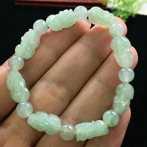 Image 2 - Natural Jade A Bracelets Gemstone Crystal Stretch Pi XIu Beads Stone 19x13mm Women Men Pi Xiu Pendant Bracelets Jewelry AAAAA