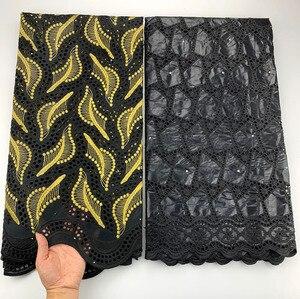 Pas cher noir africain Bazin Riche tissu 2.5 + 2.5 broderie pour couture robe suisse avec écharpe dentelle ensembles suisse coton dentelle tissu
