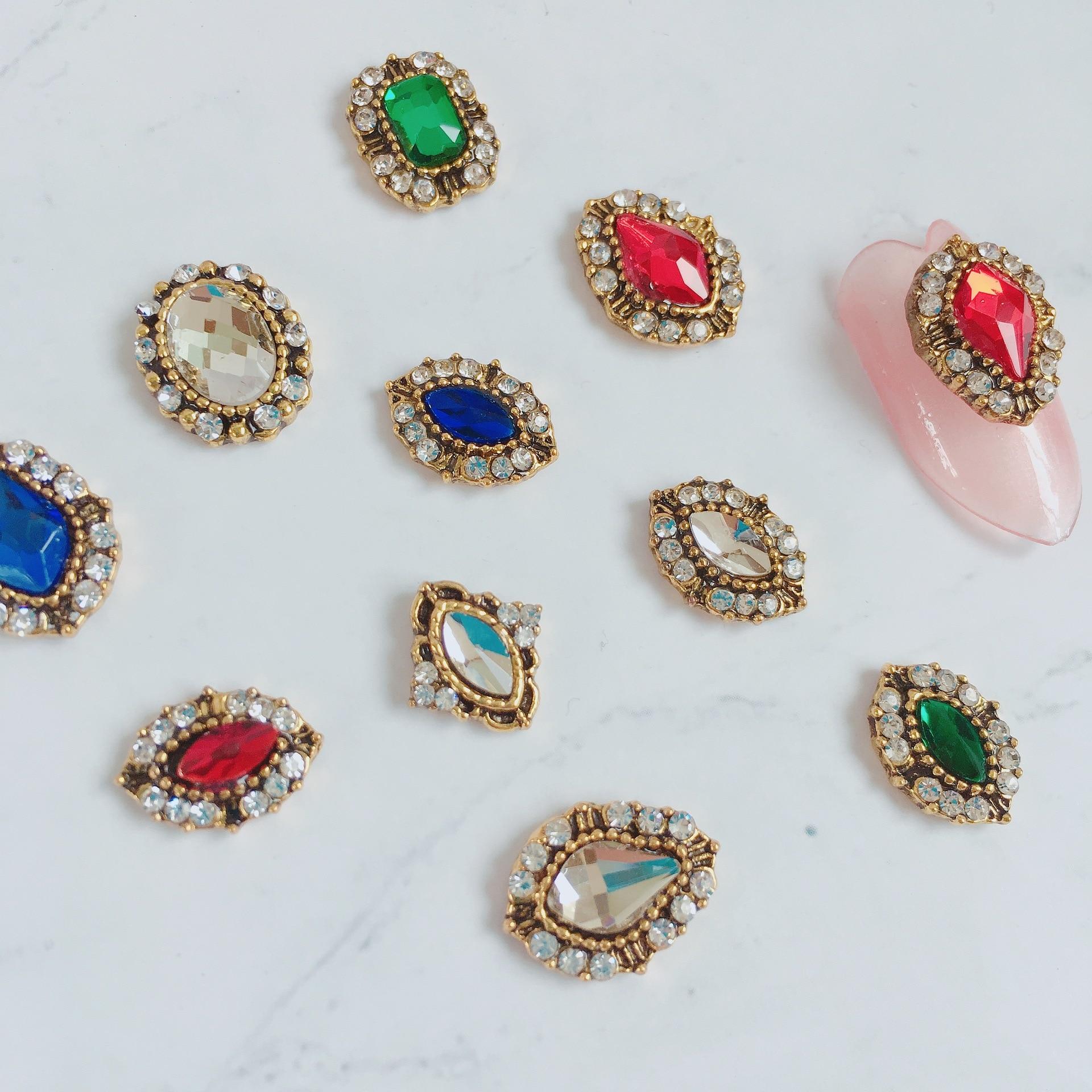 New Year Nail Ornament Japanese Style Retro Accessories Heap Drilling Nail Rhinestone Nail Diamond Bright Red Pure Green Blue Na