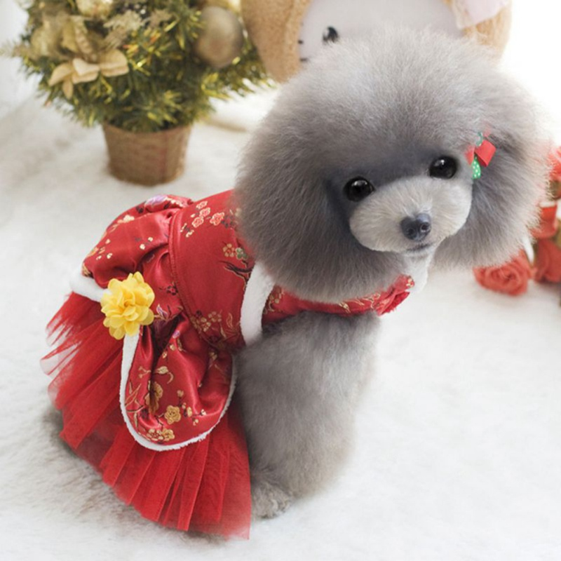 Pet <font><b>dog</b></font> <font><b>dress</b></font> Autumn and winter pet Chinese style Princess <font><b>Dress</b></font> satin tutu skirt Tang skirt rose flower random color <font><b>XXL</b></font> image