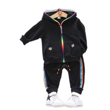 New Spring Autumn Children Clothes Suit Baby Boy Girls Hooded Rainbow Zip Jacket Pants 2 Pcs/sets Toddler Cotton Infant Clothing retail black skull baby boy autumn winter sets hooded jacket pants suits 2016 infant clothes toddler clothing children outerwear