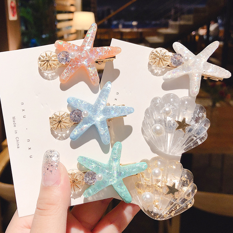 Korean Creative Aesthetic Marine Shell Starfish Duckbill Clip For Sweet Girl Women Fashion Personality Hairpins Hair Accessories